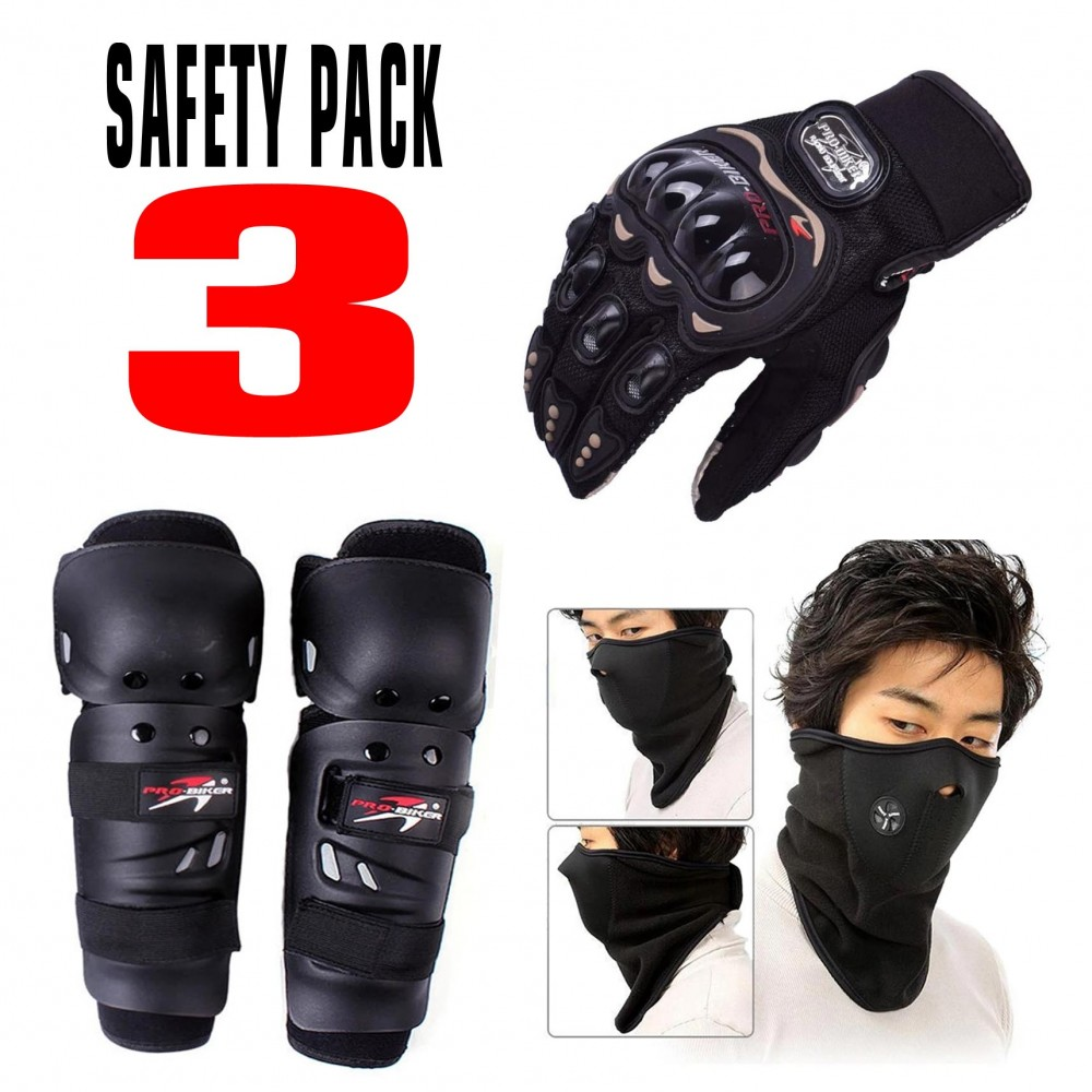 Pack of 3 - Gloves, Mask & Elbow Knee pad