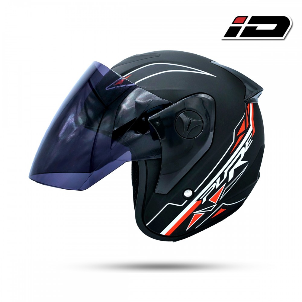 Index Pure Open face Free Size Helmet - Black